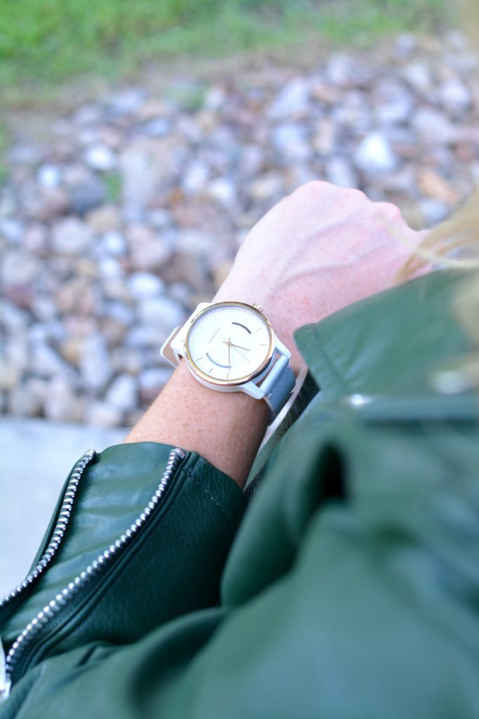 Ashley from LSR in a green leather jacket and a Garmin vivomove