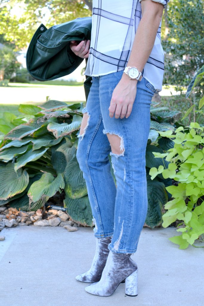 Ashley from LSR in destroyed denim and velvet booties