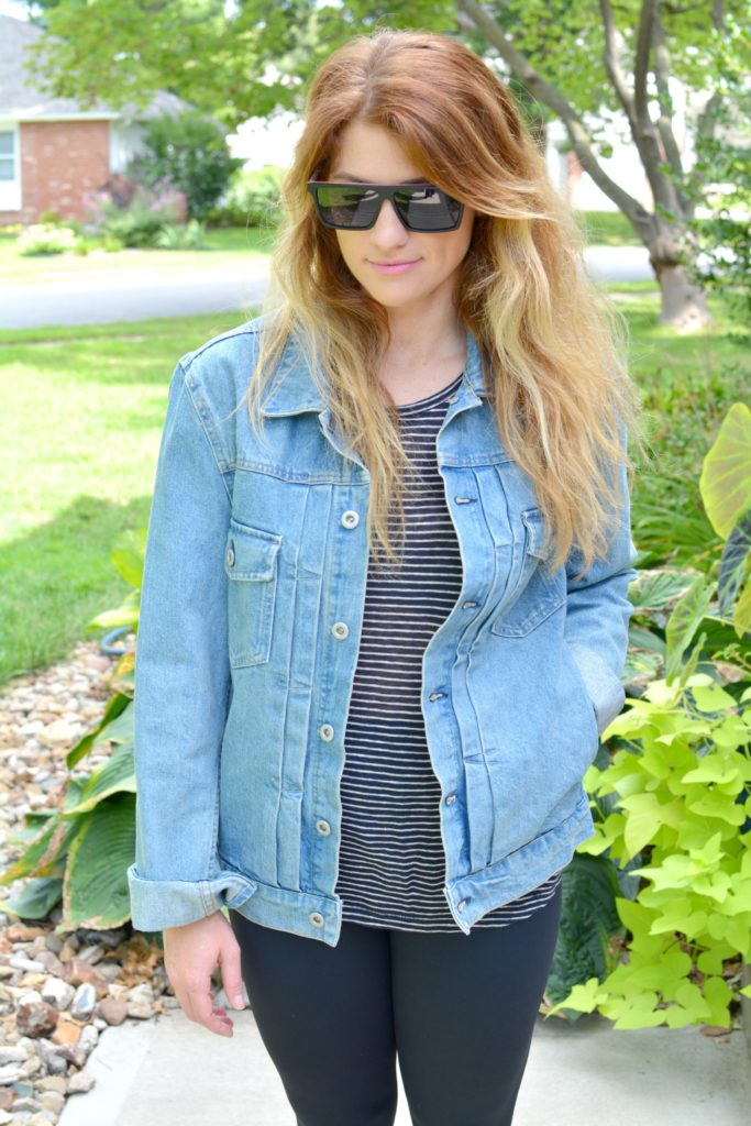 Ashley from LSR in a men's boxy denim jean jacket, striped tee, and Carbon38 leggings