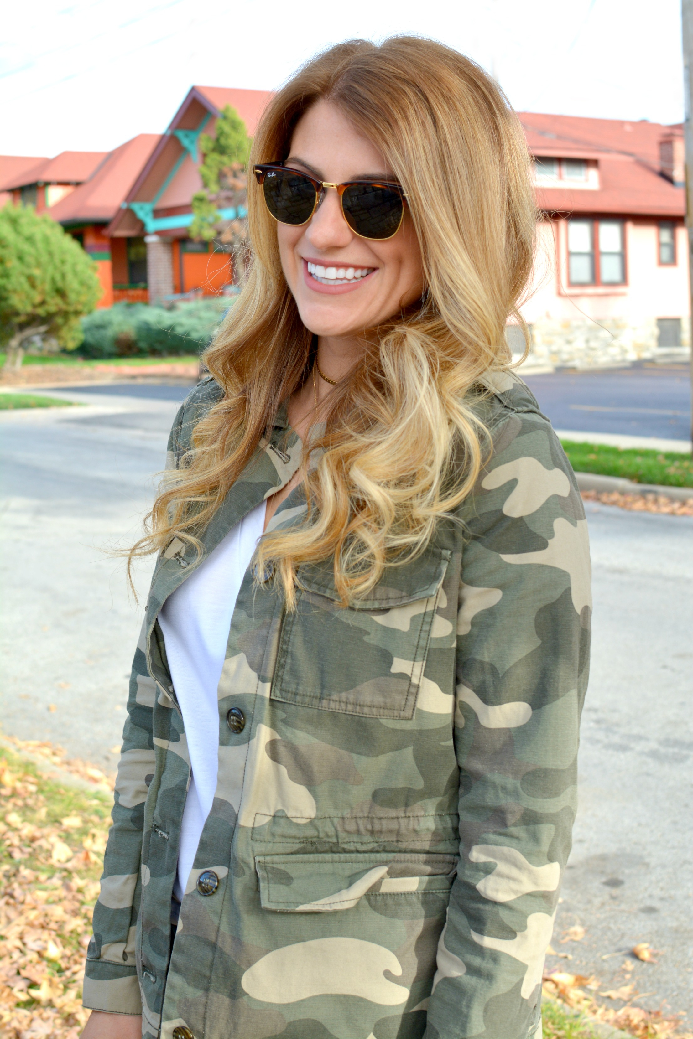Ashley from LSR in a camo jacket
