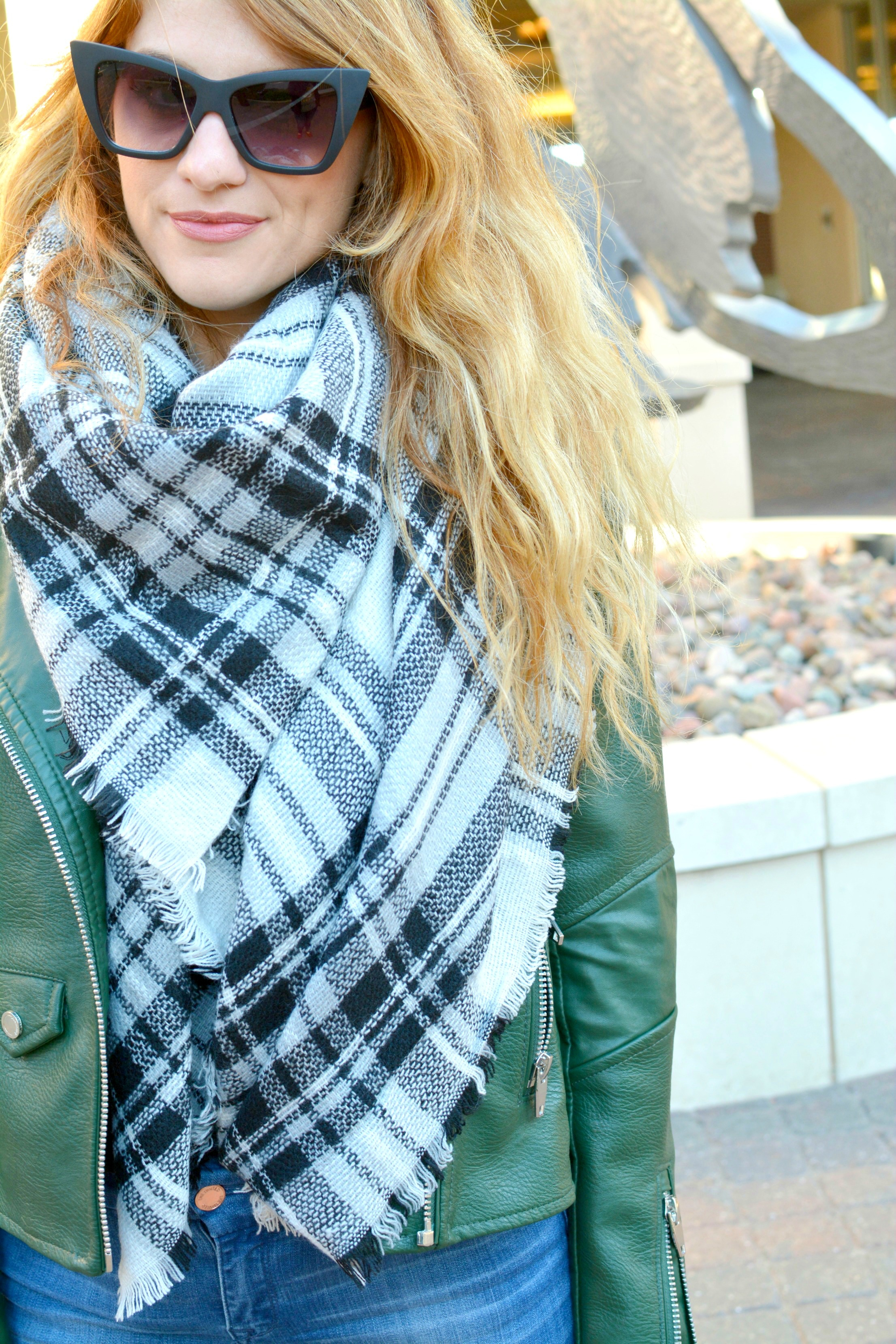 Ashley from LSR in the best faux leather jacket from Blank NYC and a plaid blanket scarf