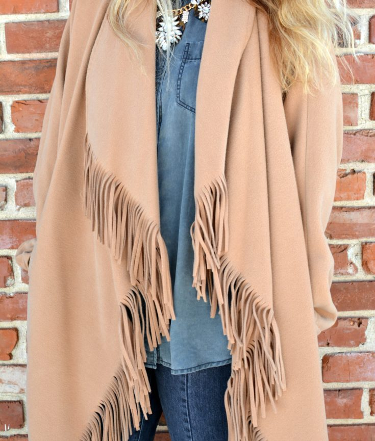 Ashley from LSR in a fringe camel coat