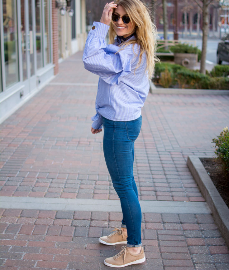 Oversized Blue Blouse + Camel Sneakers. | Ashley from Le Stylo Rouge