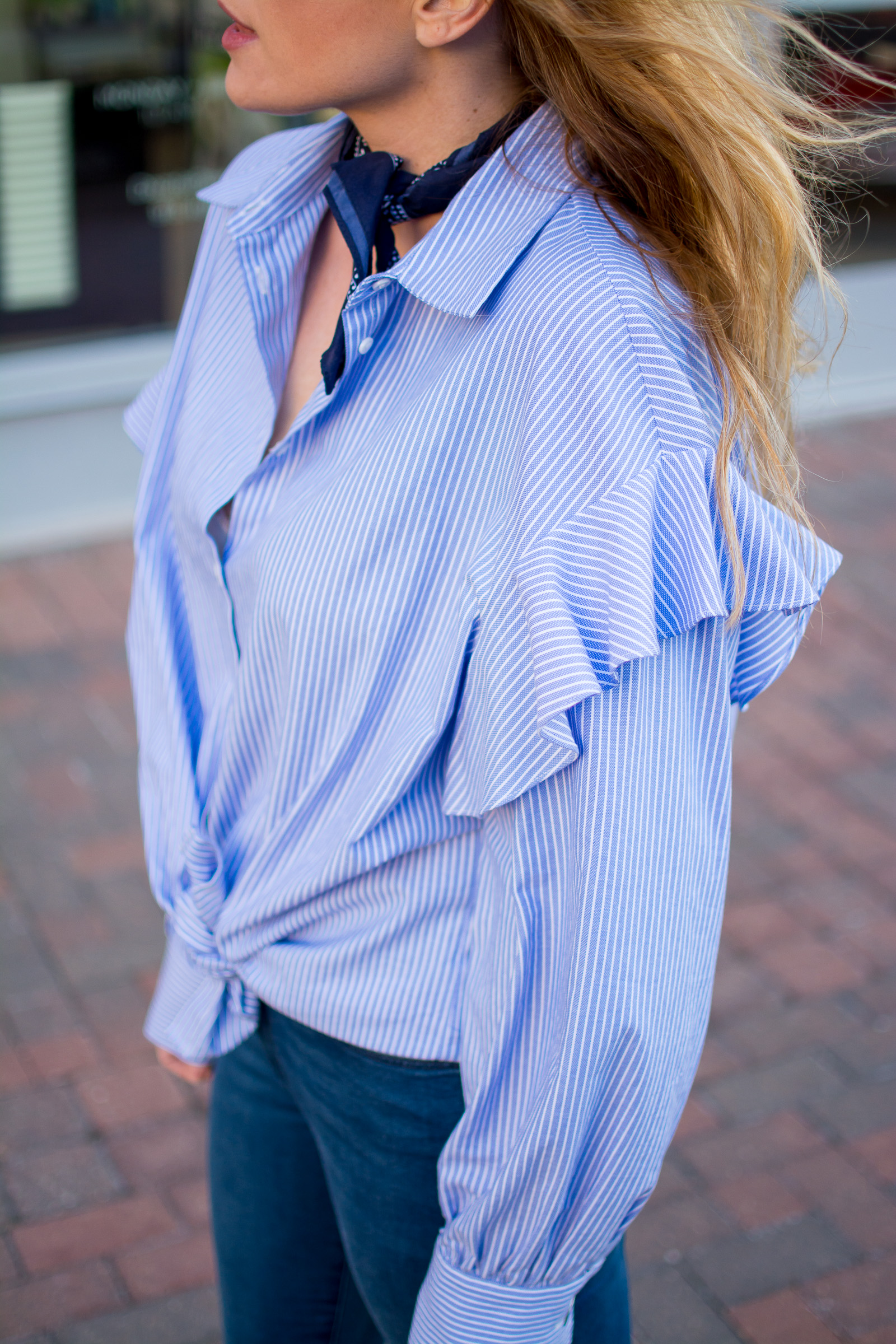 Oversized Blue Striped Shirt with Mega Ruffles. | Ashley from Le Stylo Rouge