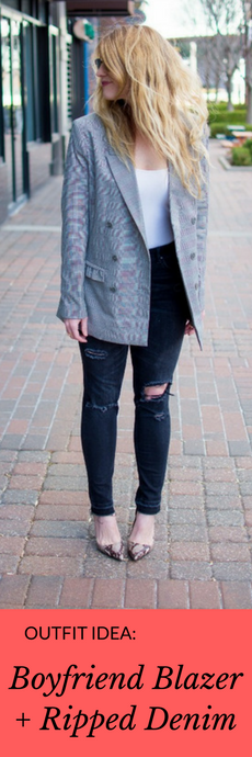 Outfit Idea: Boyfriend Blazer + Ripped Jeans. | Ashley from Le Stylo Rouge