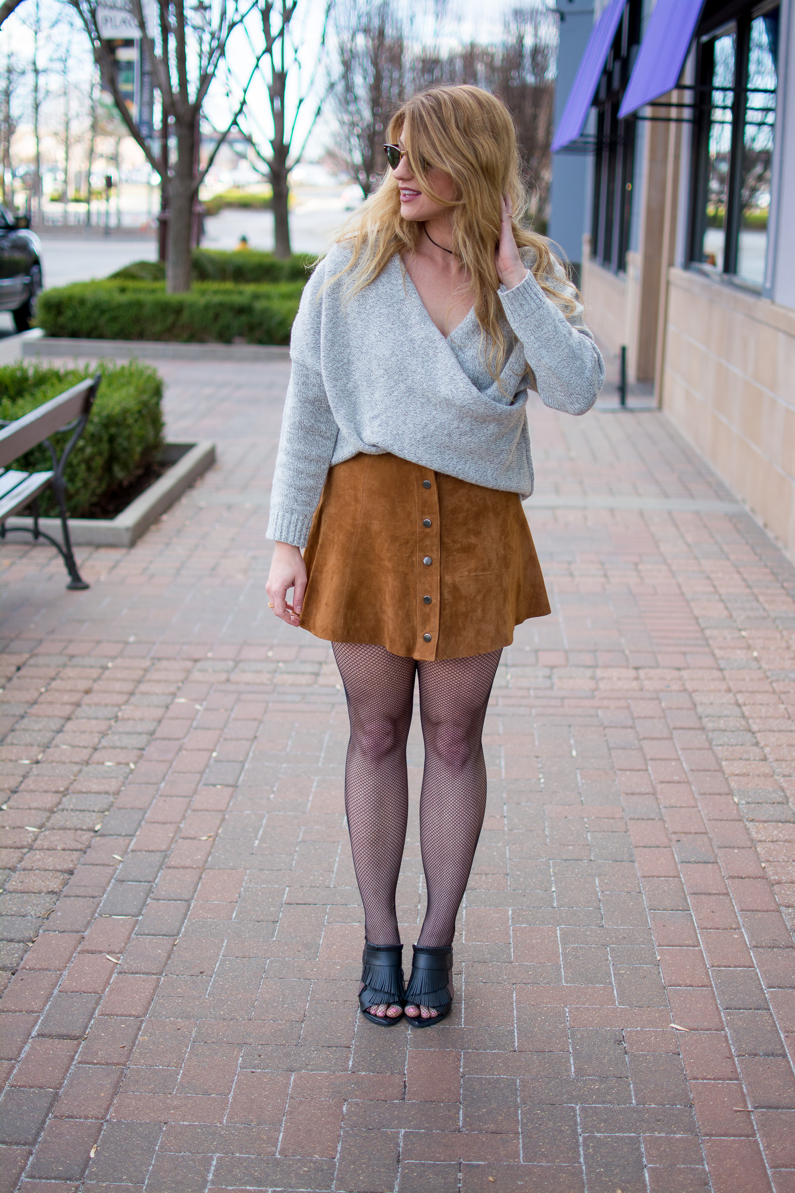 Criss Cross Sweater + Suede Skirt. | Ashley from Le Stylo Rouge