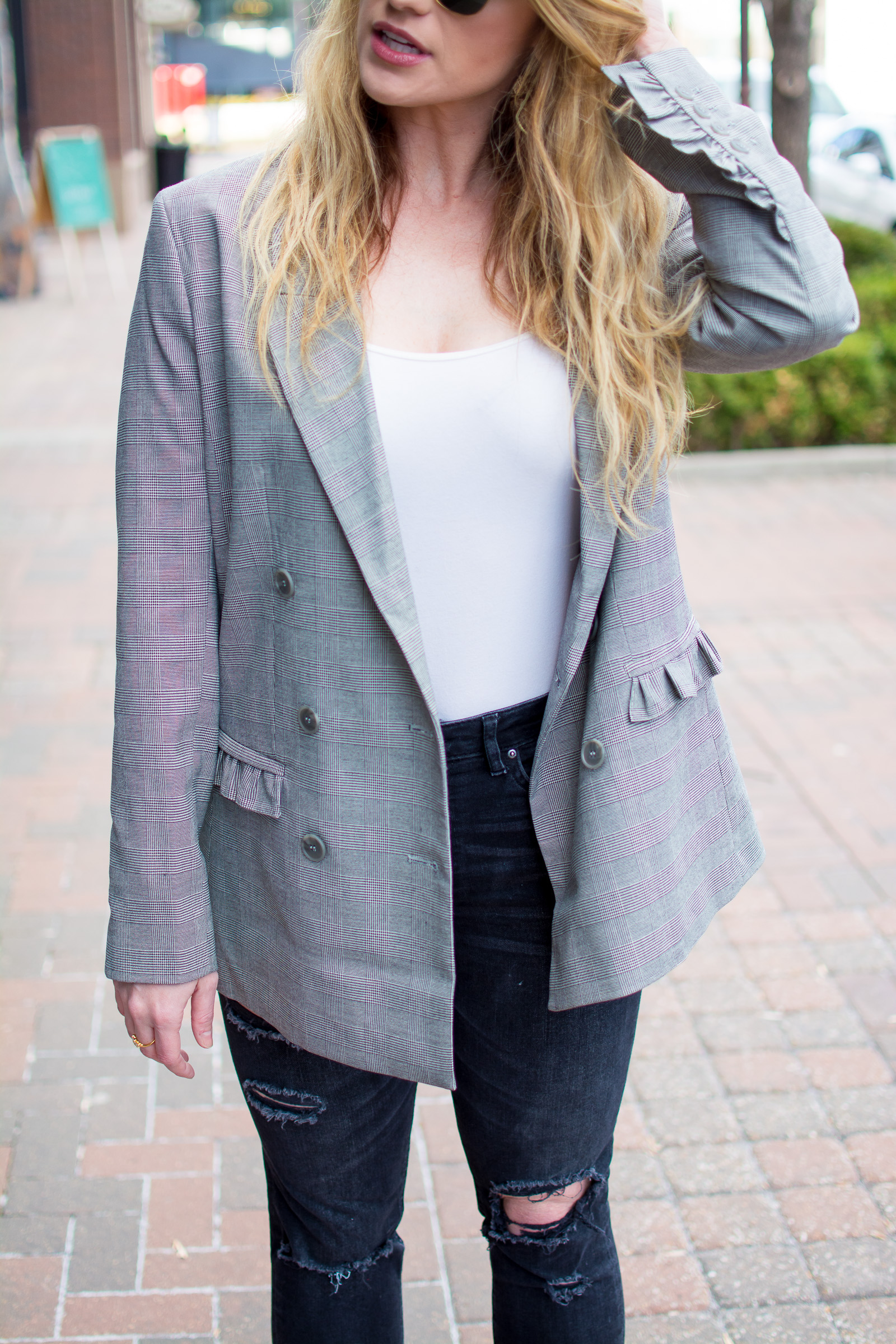 Gray Ruffled Boyfriend Blazer with Destroyed Denim. | LSR