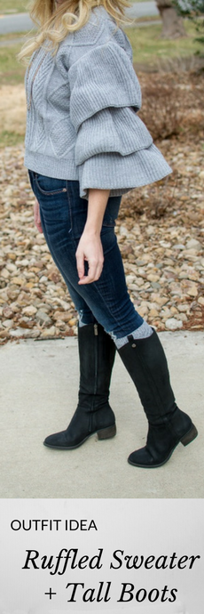 Outfit Idea: Ruffled Sweater + Tall Boots. | Ashley from Le Stylo Rouge