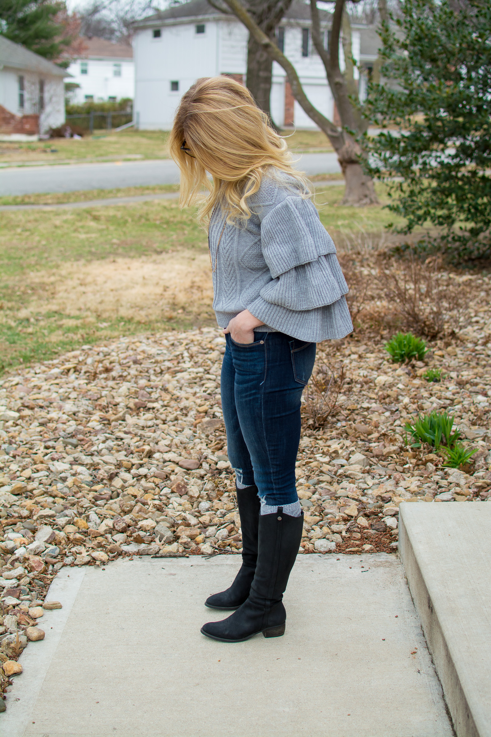 Sweater with Super Ruffles + Riding Boots. | Ashley from Le Stylo Rouge