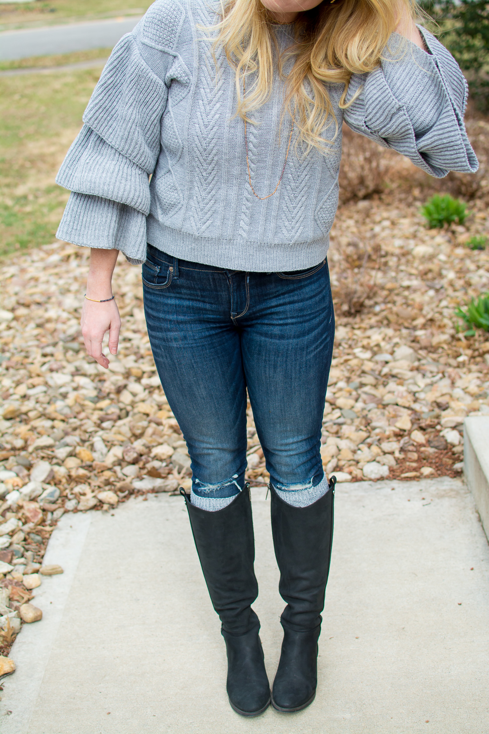Super Ruffled Sweater + Riding Boots. | Ashley from Le Stylo Rouge