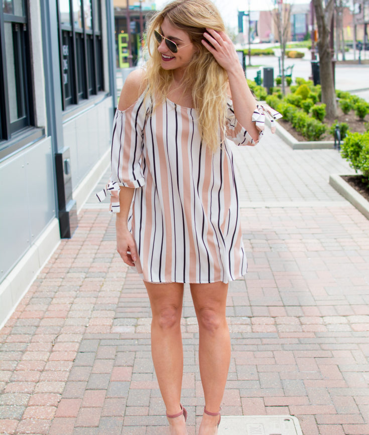 Outfit Idea: A Breezy Blush-striped Dress + Blush Heels. | Ashley from Le Stylo Rouge