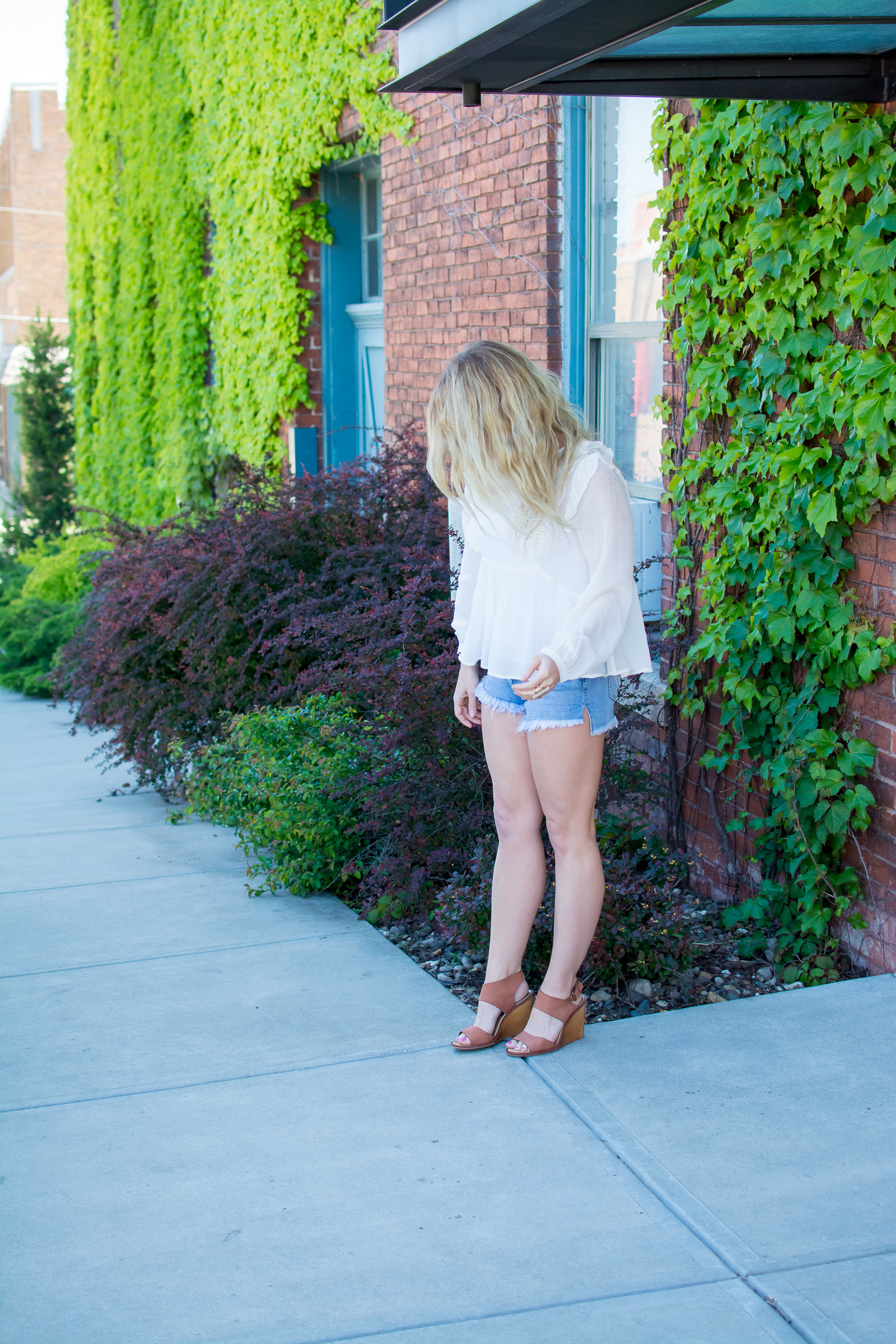 Dressing up Denim Cutoffs with Wedges. | Ashley from Le Stylo Rouge