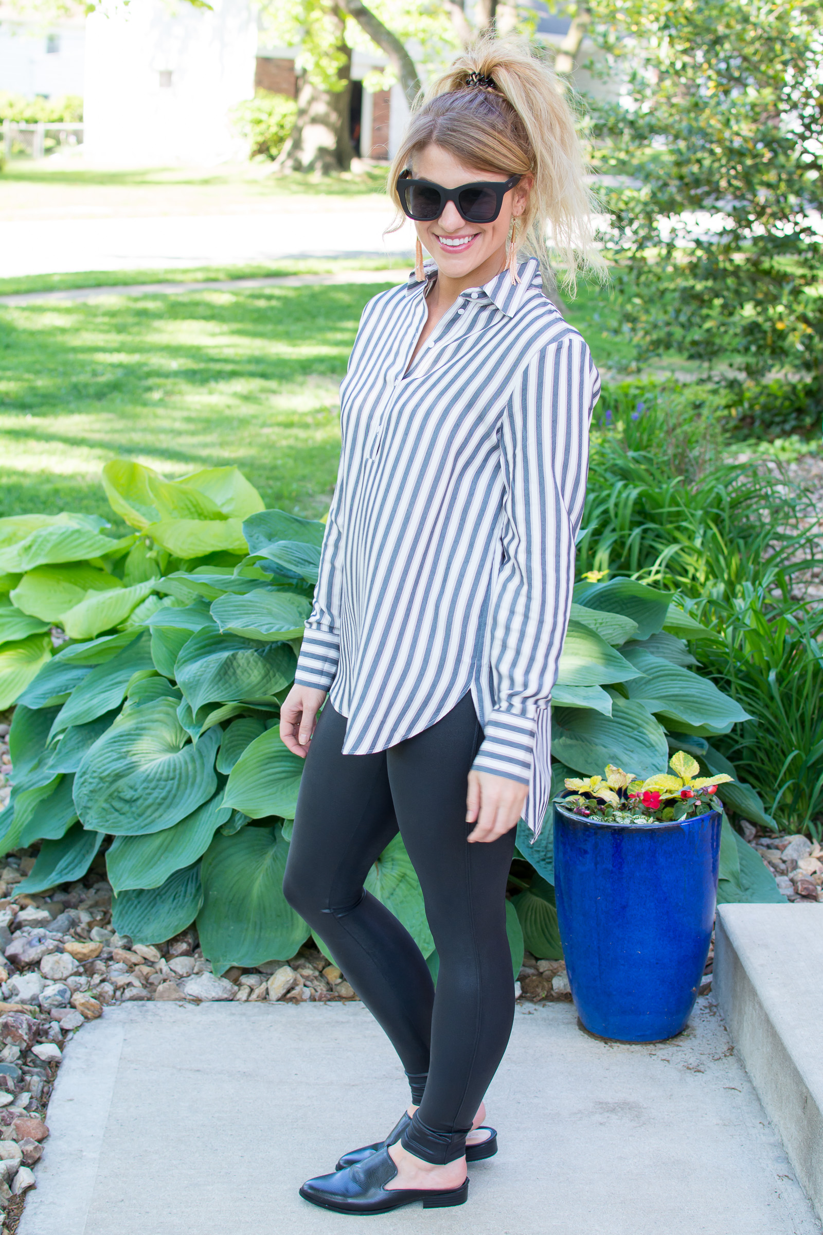Striped Tunic + Spanx Leggings. | Ashley from LSR