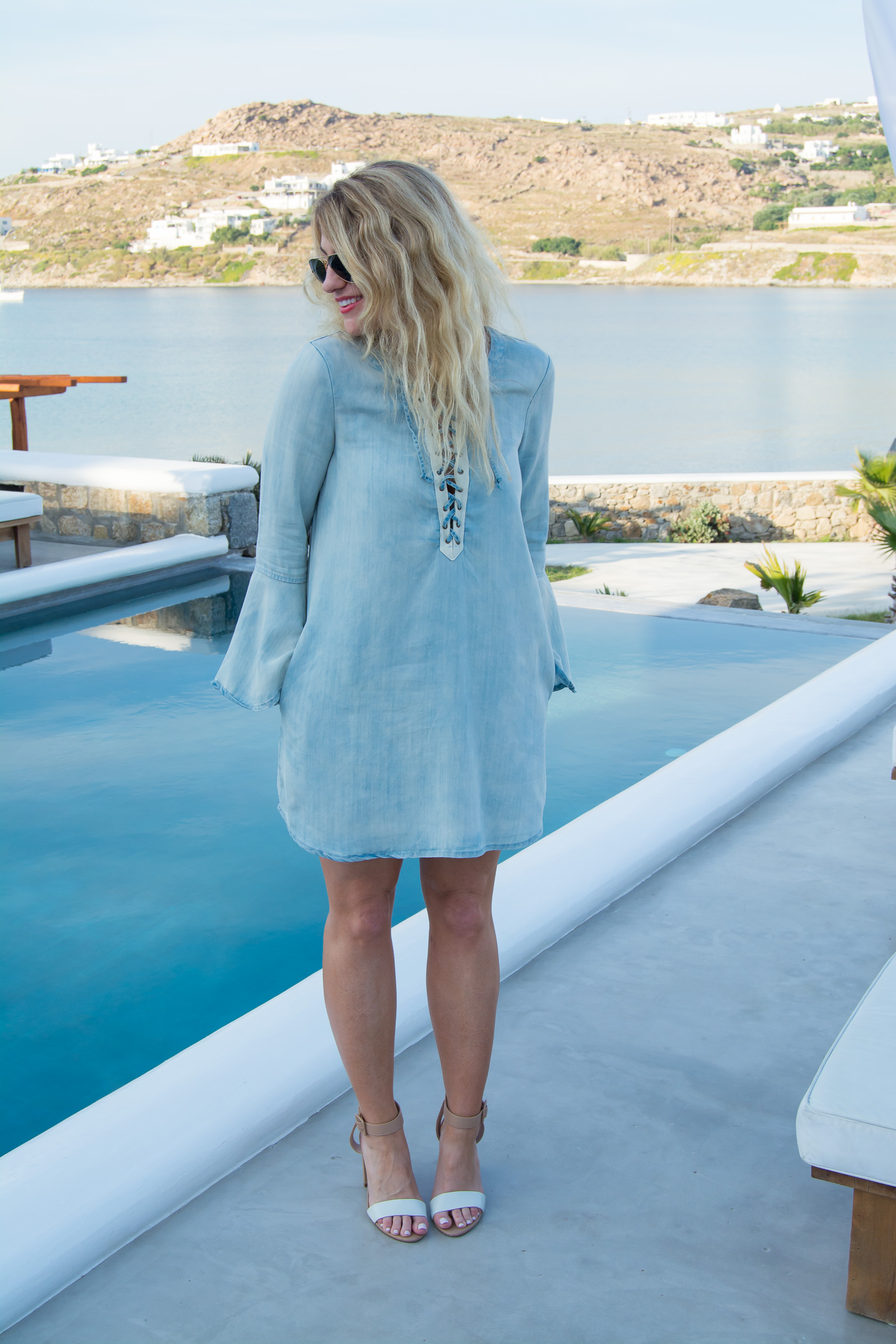 What to Wear in Greece: Chambray Lace-up Dress. | Ashley from Le Stylo Rouge