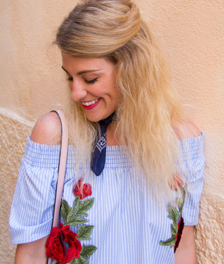What to Wear in Greece: Off-the-Shoulder Striped + Embroidered Top. | Ashley from Le Stylo Rouge