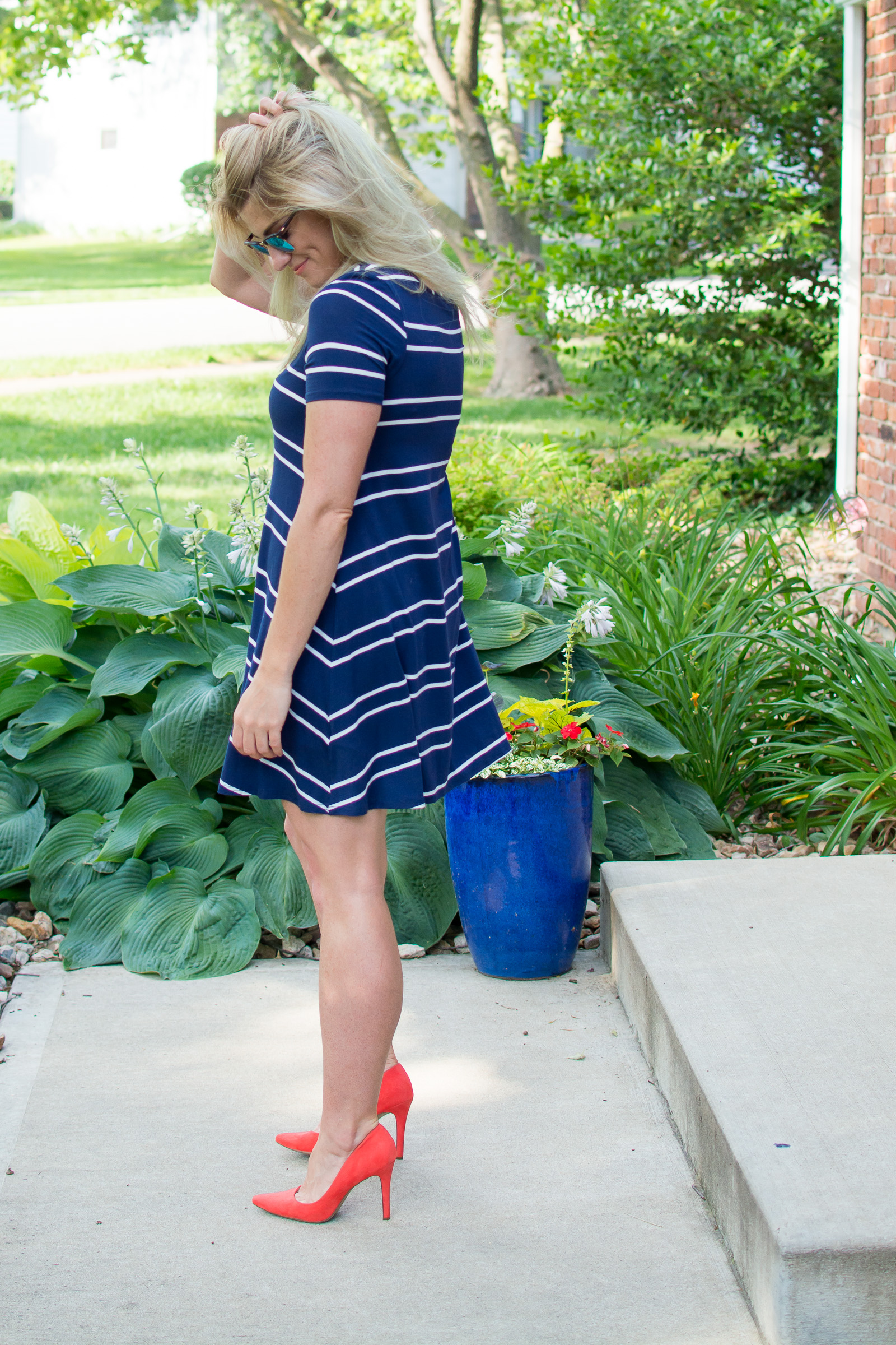 4th of July Outfit Idea: Navy Striped Dress. | Ashley from LSR