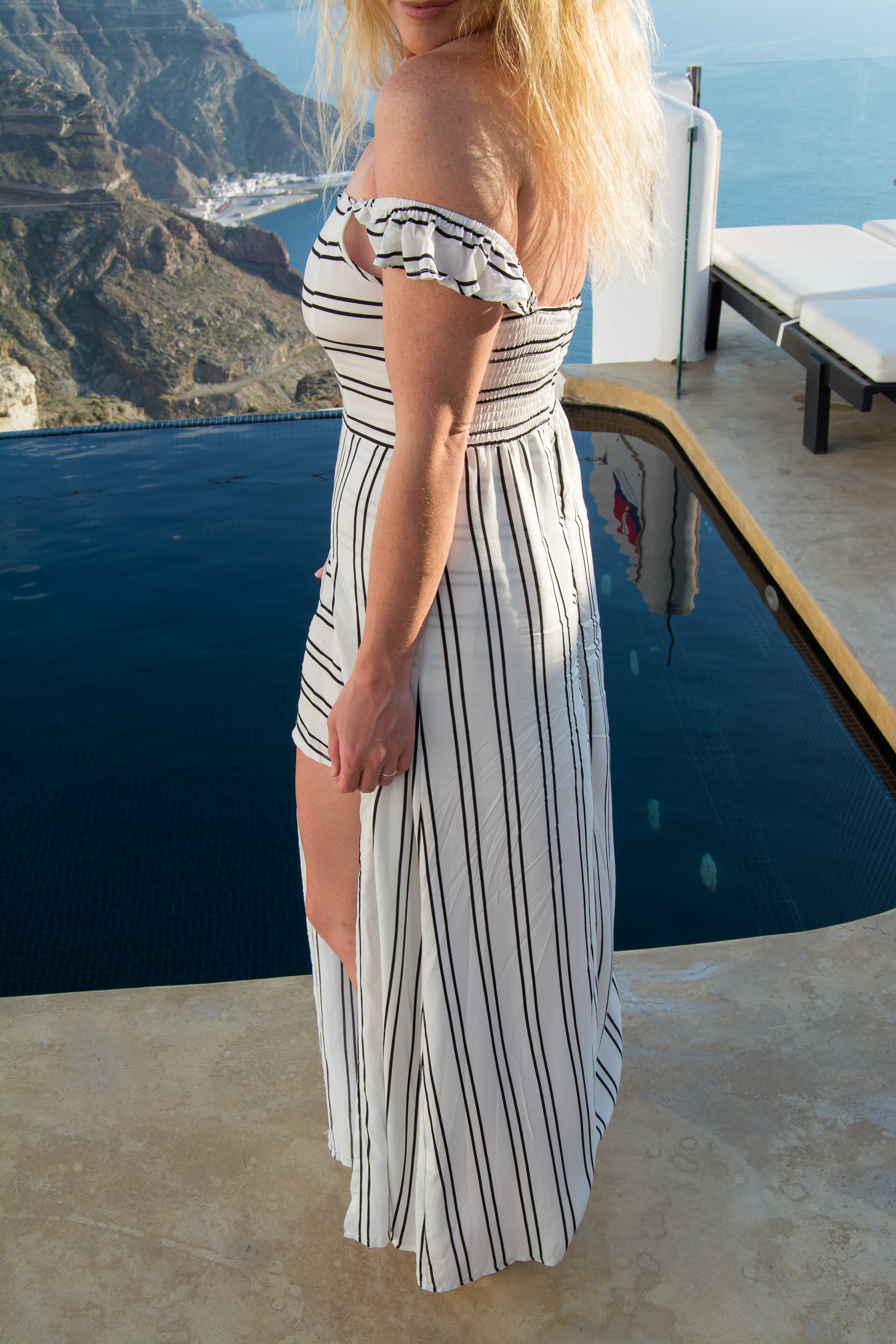 What to Wear in Santorini: Maxi Romper. | Ashley from Le Stylo Rouge