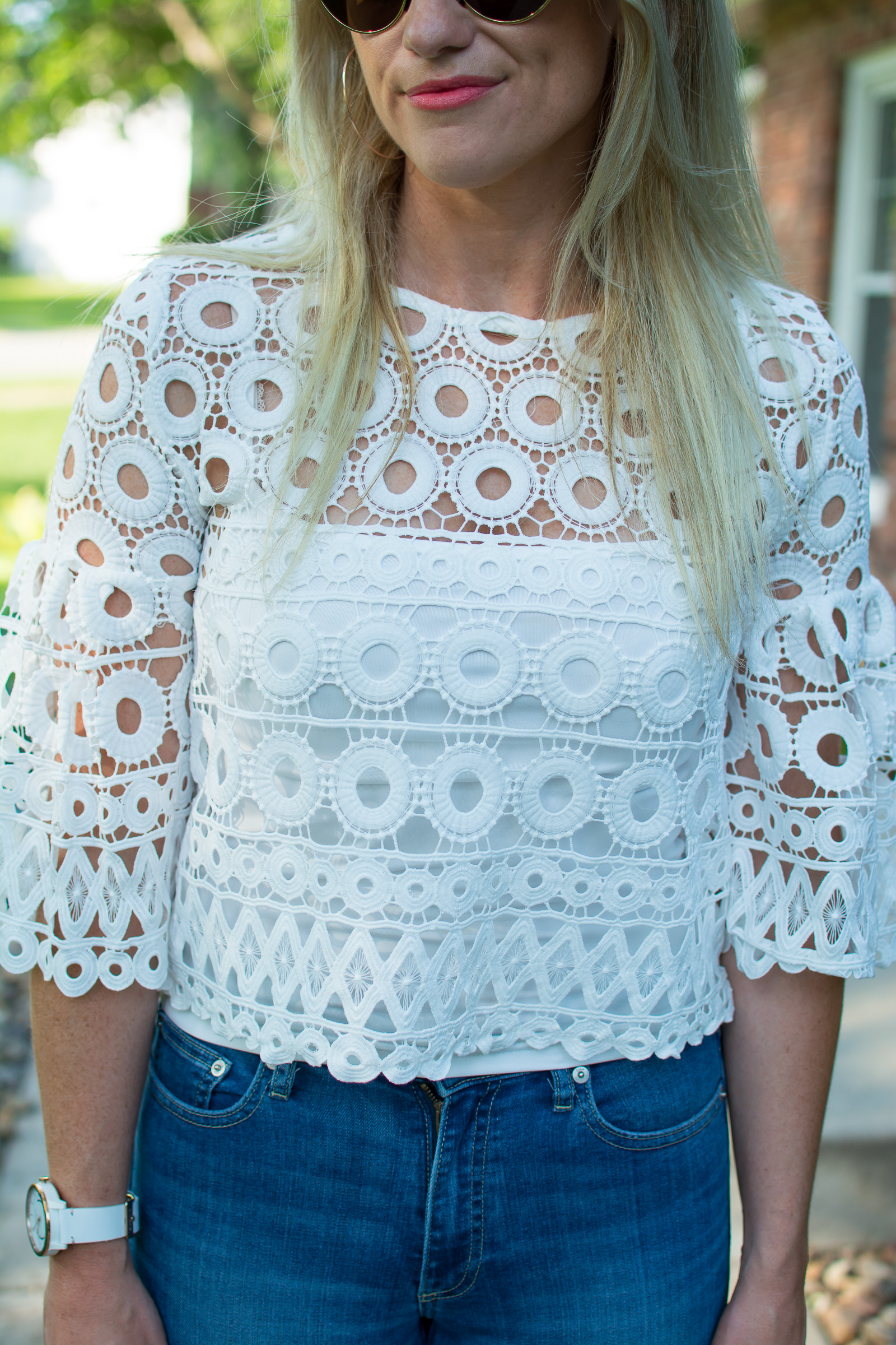 Summer Outfit Idea: White Crochet Top. | Ashley from LSR