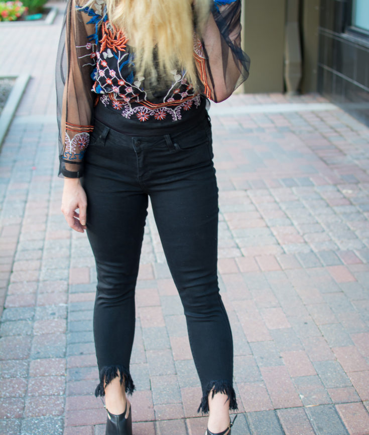 Outfit Idea: Black Frayed Denim + Sheer Embroidered Shirt. | Ashley from Le Stylo Rouge