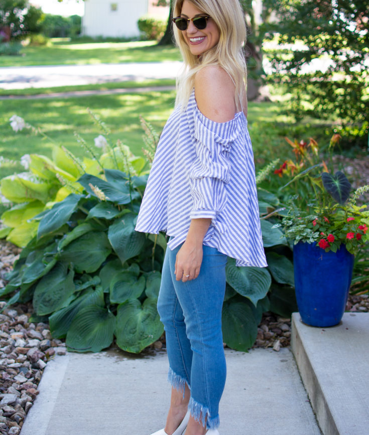 Blousy Blue + White Stripes with Frayed Denim. | Ashley from Le Stylo Rouge