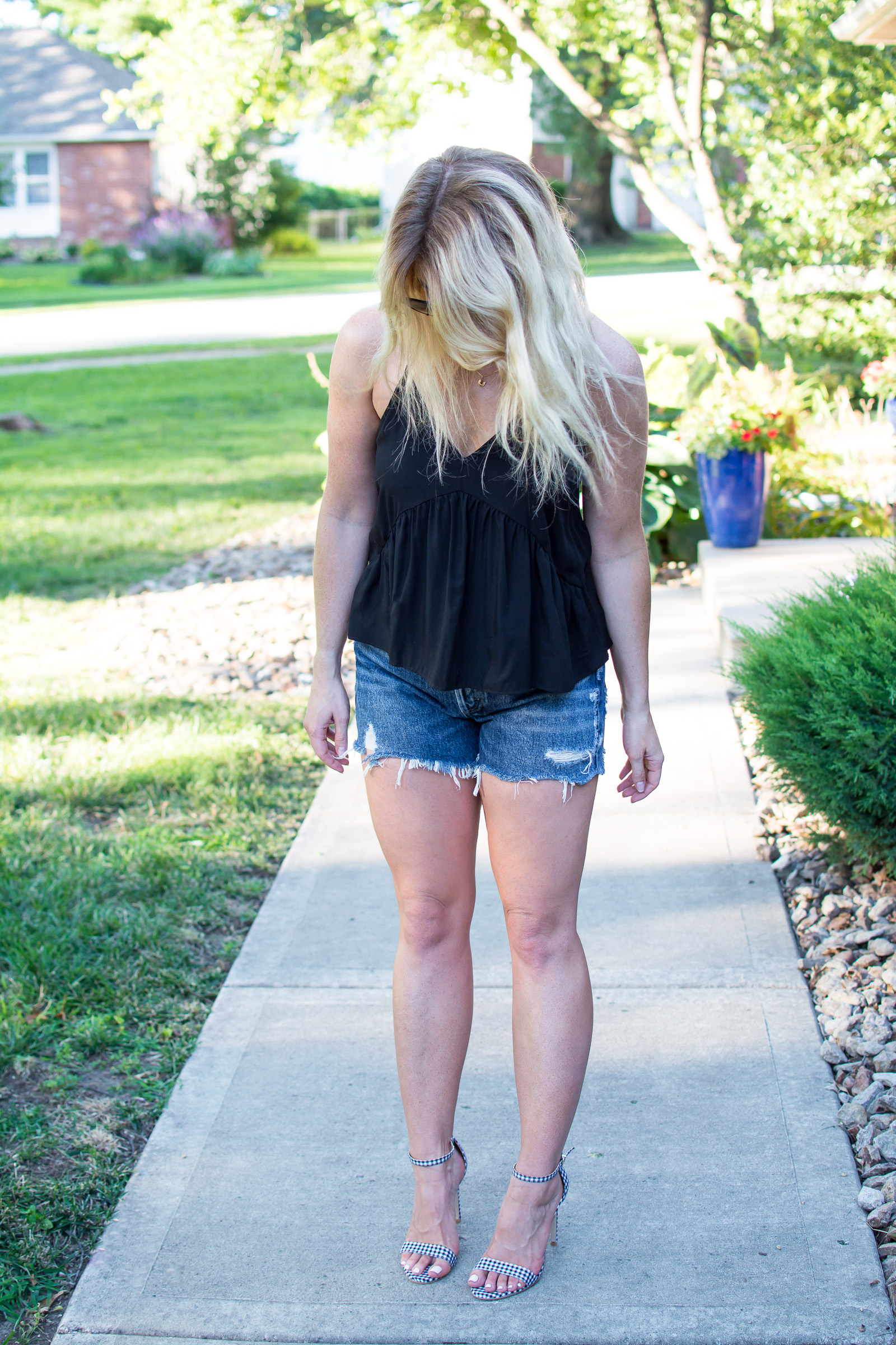 Styling Cutoffs with Gingham Heels. | Ashley from Le Stylo Rouge