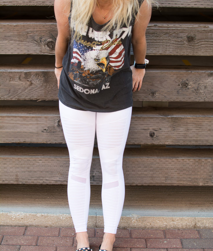 White Moto Leggings + Studded Slides. | Ashley from Le Stylo Rouge