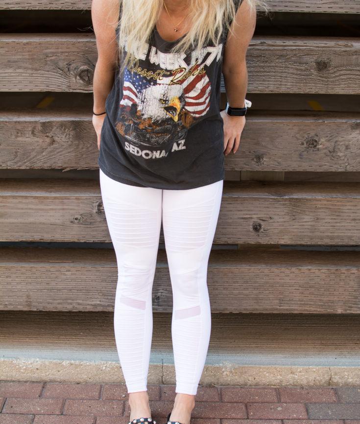 White Moto Leggings + Studded Slides. | Ashley from Le Stylo Rouge