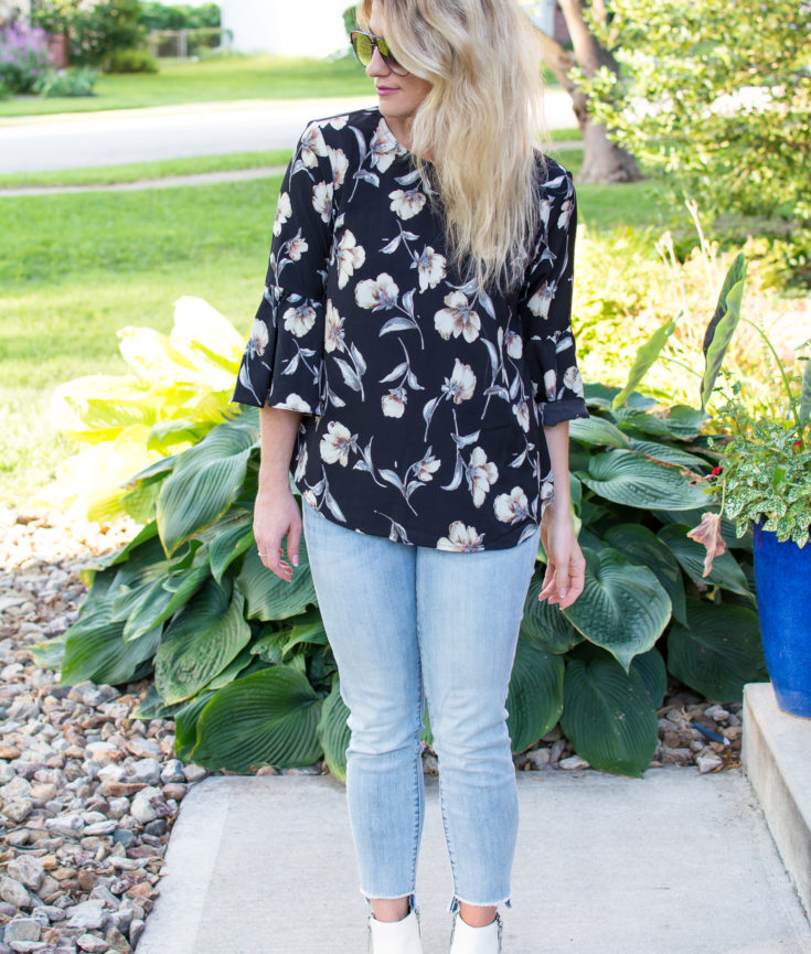 Outfit Idea: Black Floral Blouse + White Booties. | Ashley from Le Stylo Rouge