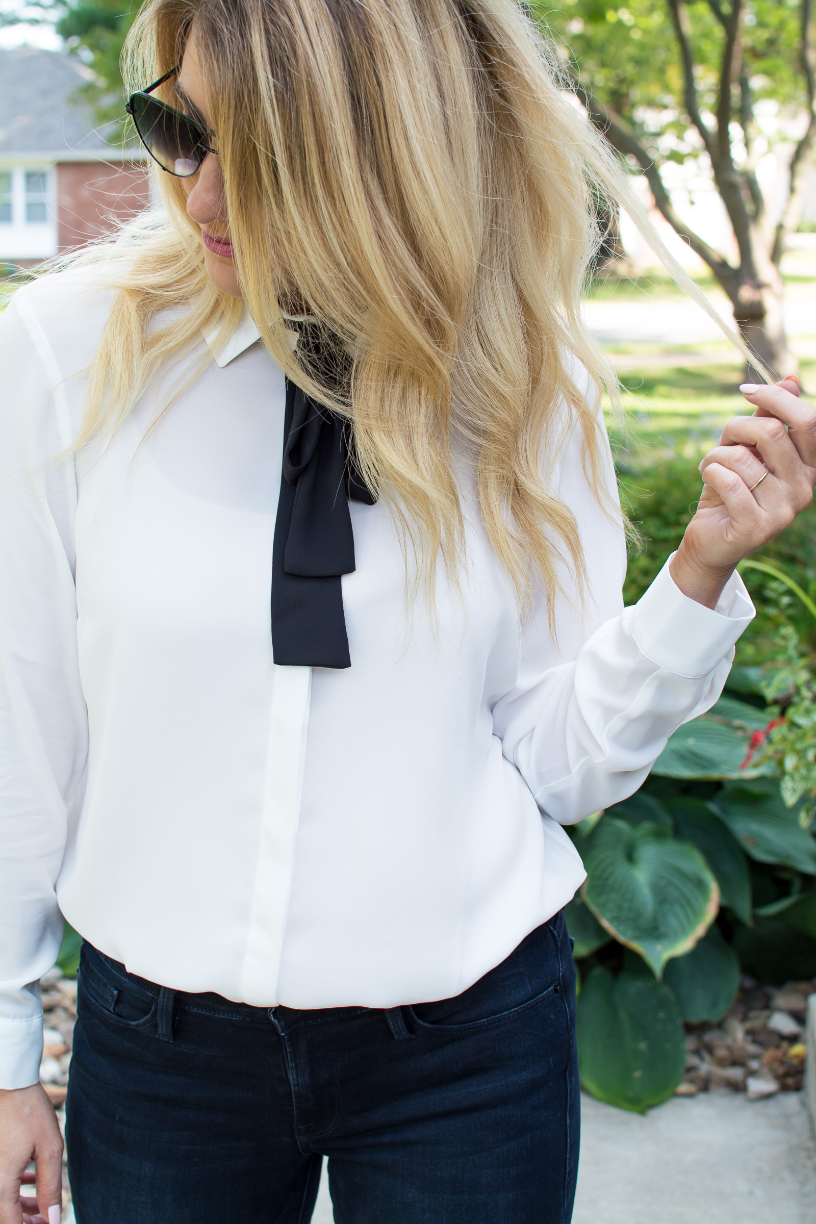 A Bow-tie Blouse with Dark Denim. | Ashley from LSR
