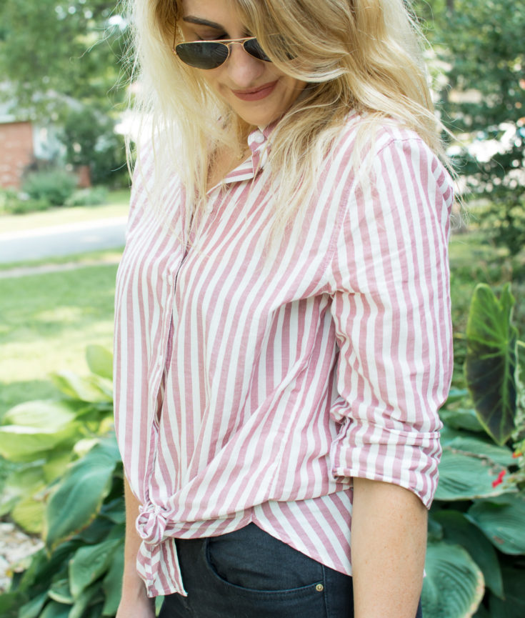 Outfit Idea: Faded Red Stripe Button-up + Black Denim. | Ashley from LSR