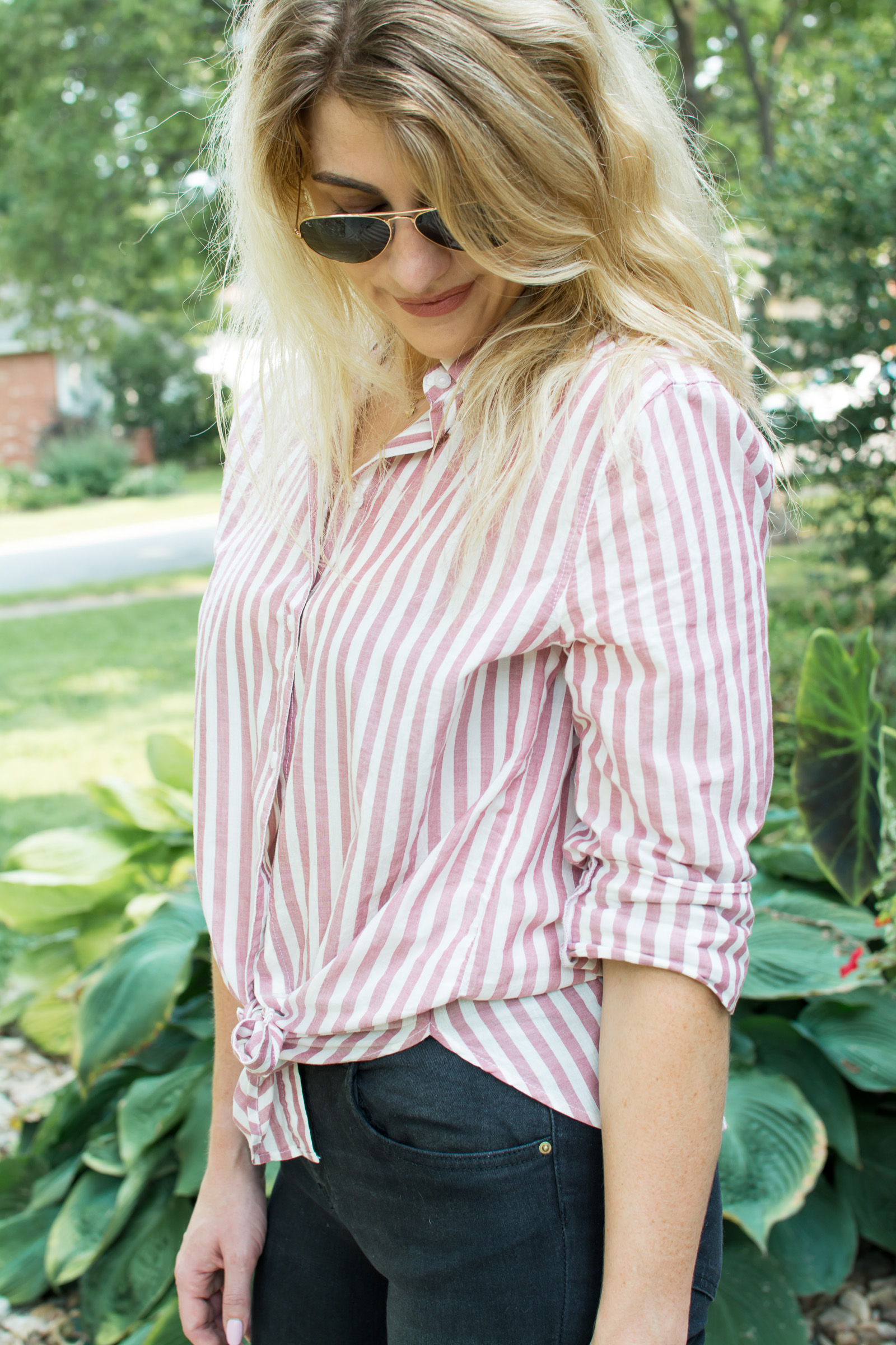 Outfit Idea: Faded Red Striped Button-up + Black Denim. | Ashley from LSR