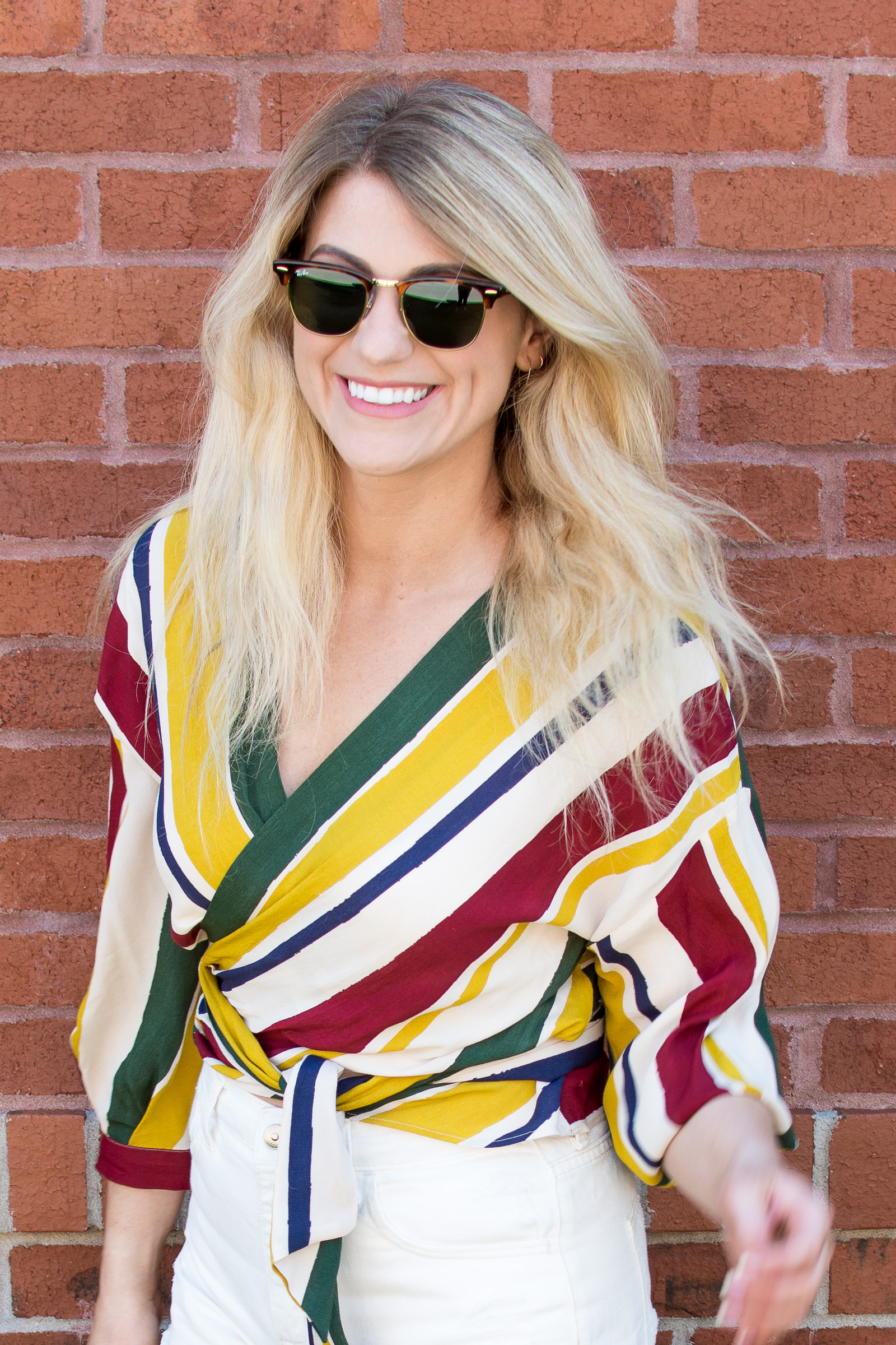 A Fall Striped Wrap Blouse with Summer Shorts. | Ashley from LSR
