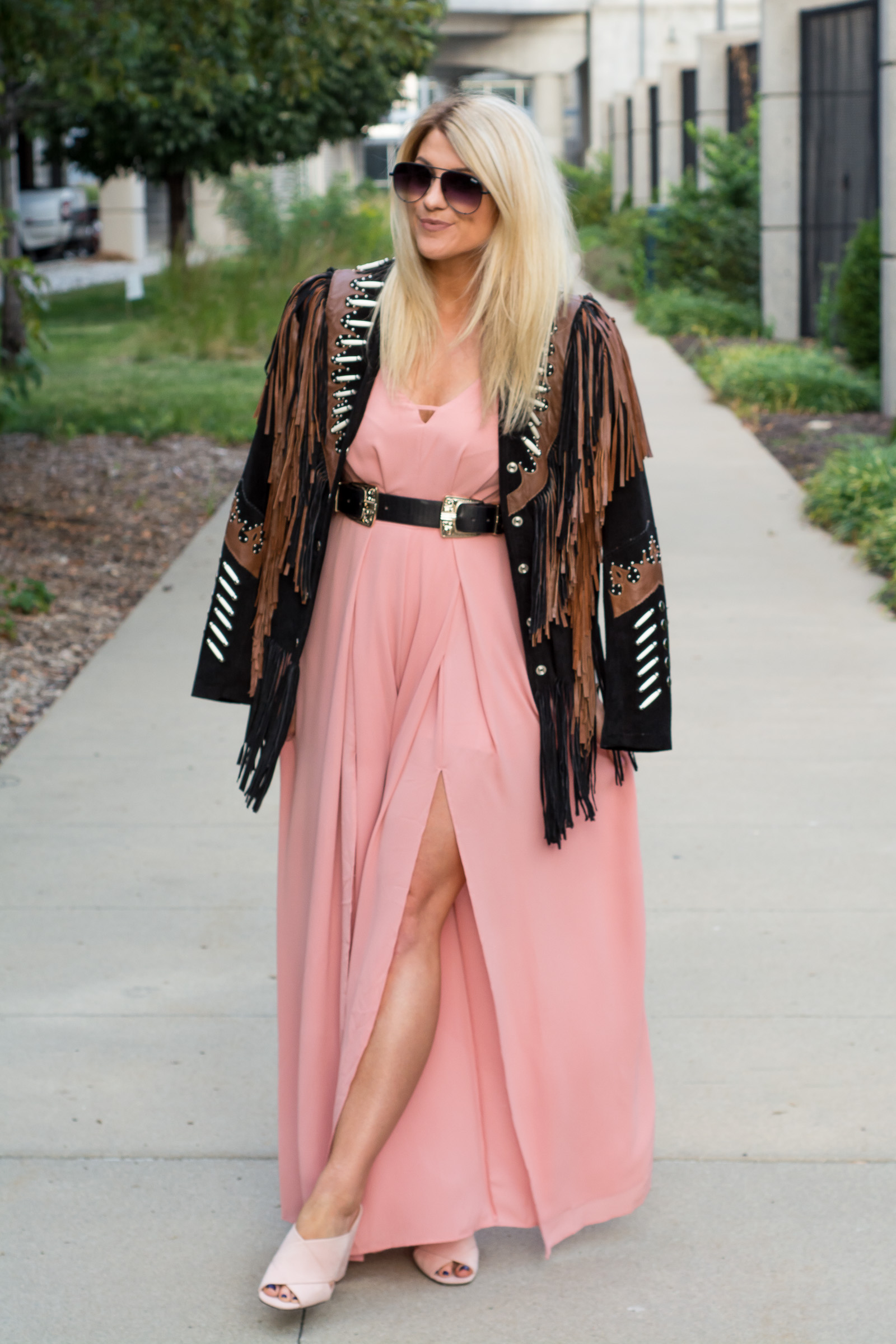 Blush Jumpsuit + Statement Jacket. | Ashley from LSR
