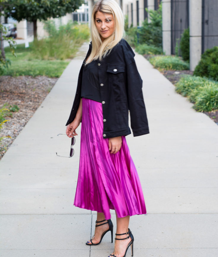 Fuchsia Midi Skirt + Black Denim Chain Jacket. | Ashley from LSR