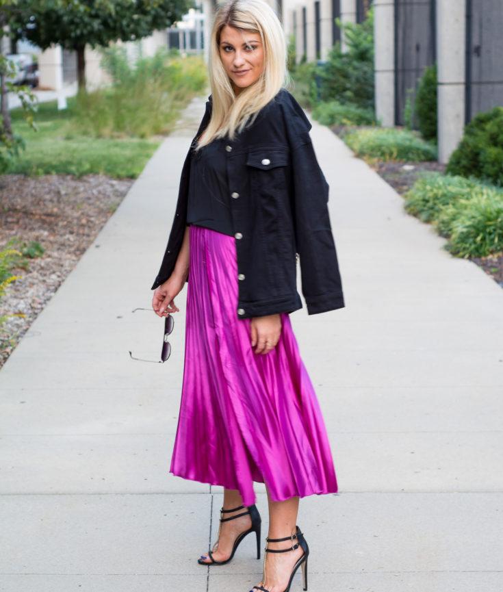Fuchsia Midi Skirt + Black Denim Chain Jacket. | Ashley from LSR