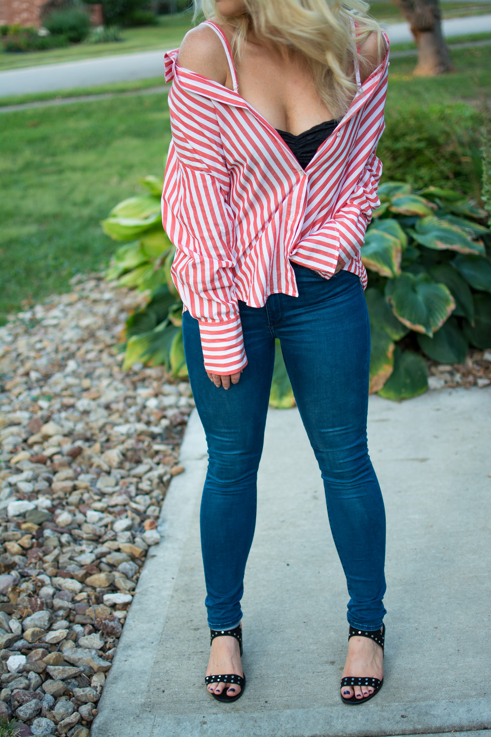 Wearing a Striped Button-up Off-the-Shoulder. | Ashley from LSR