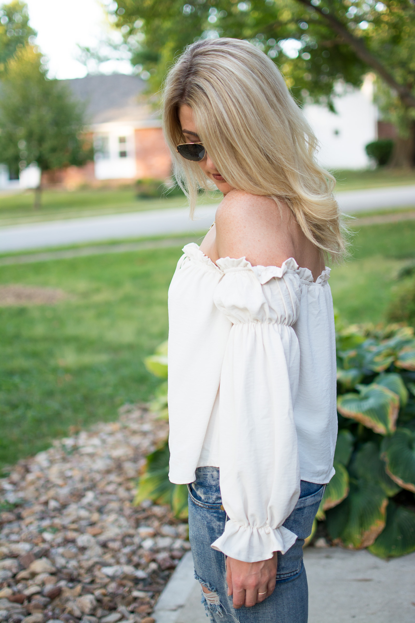 Girly and Tough: Flouncy Blouse with One Teaspoon Boyfriend Jeans. | Ashley from LSR