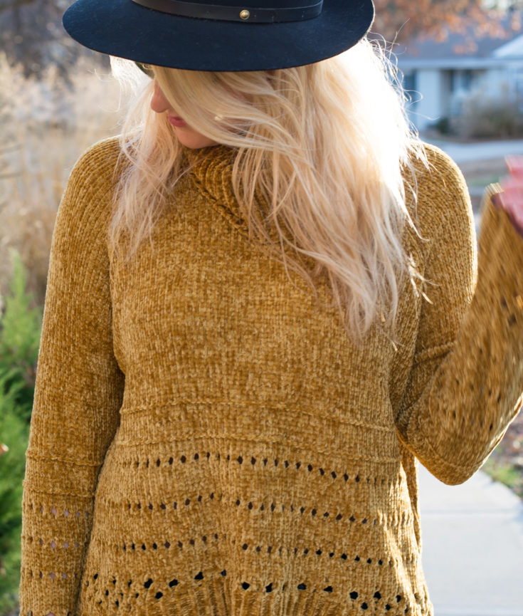 Fall Outfit: Mustard Chenille Sweater + Flares. | Ashley from LSR