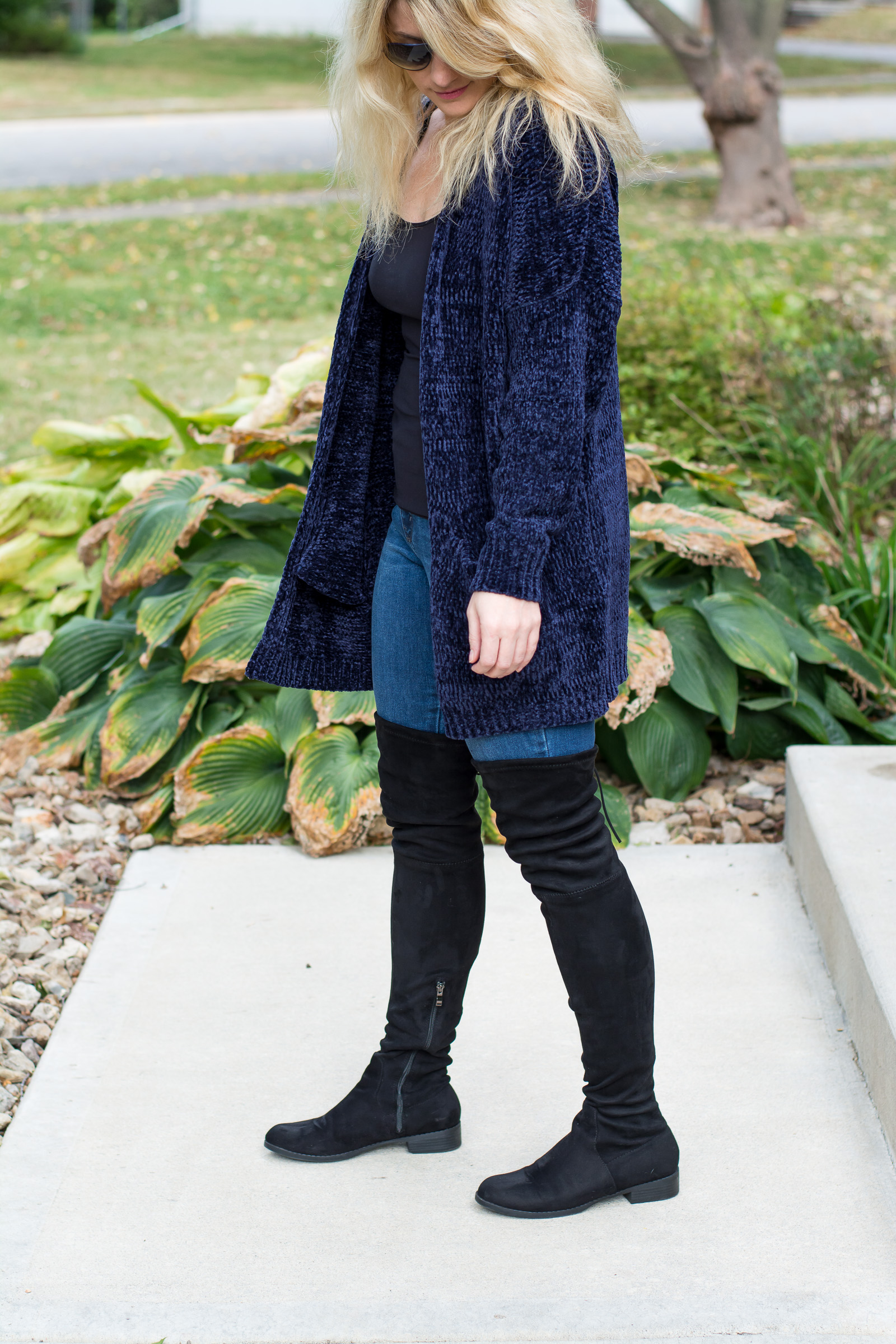 Fall Outfit Idea: Navy Chenille Cardigan. | Ashley from LSR