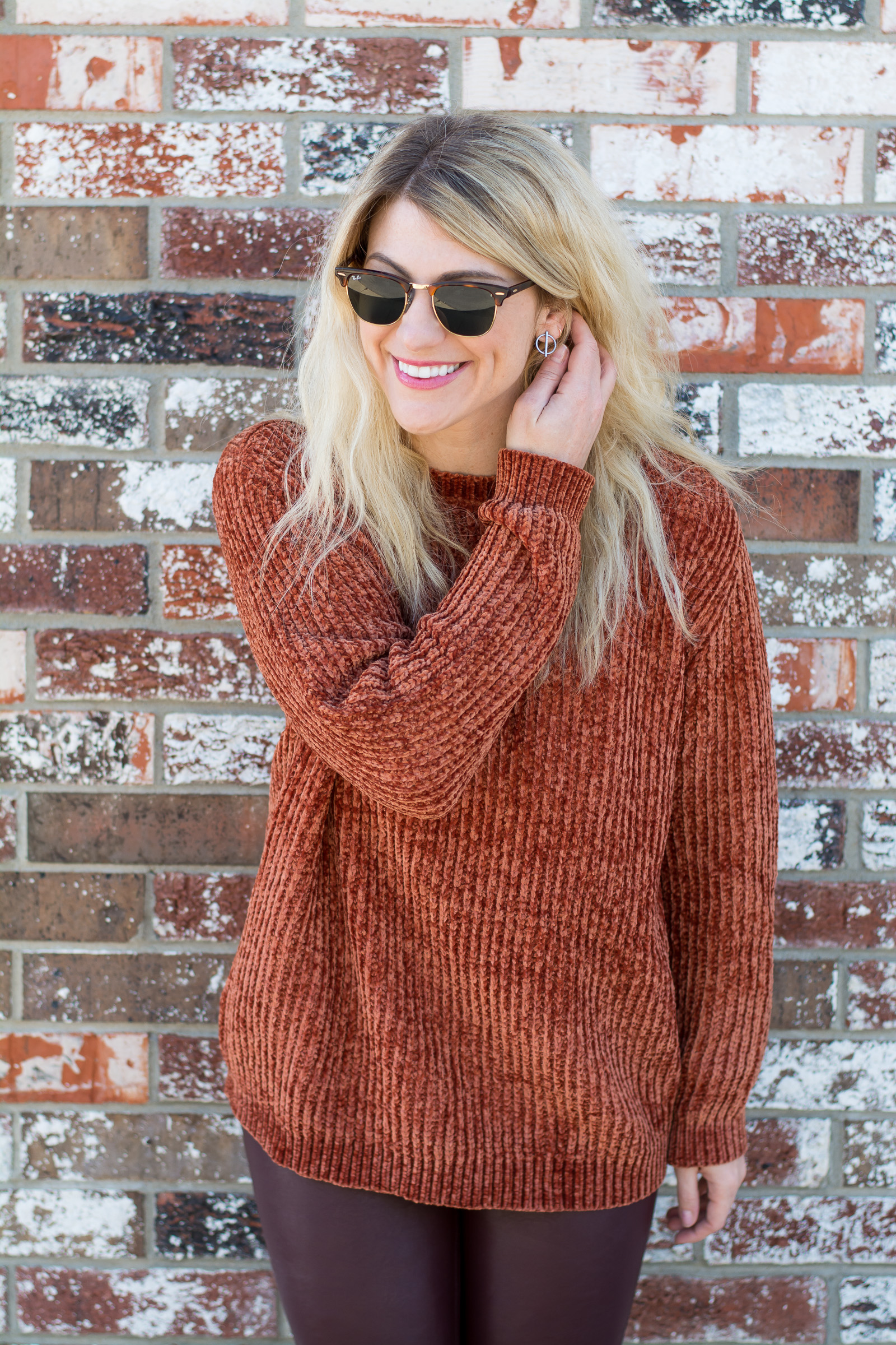 Pumpkin Chenille + Leather Leggings. | Ashley from LSR