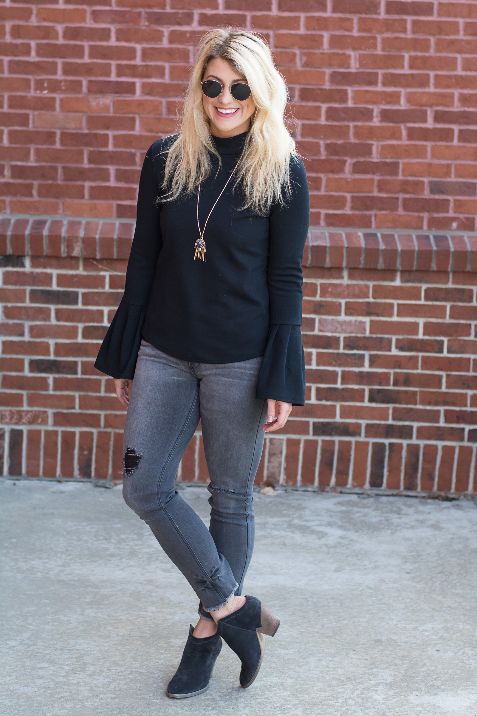 Black Sweater with Bell Sleeves. | Ashley from LSR