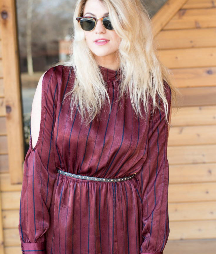 Burgundy Striped Satin Maxi Dress. | Ashley from LSR