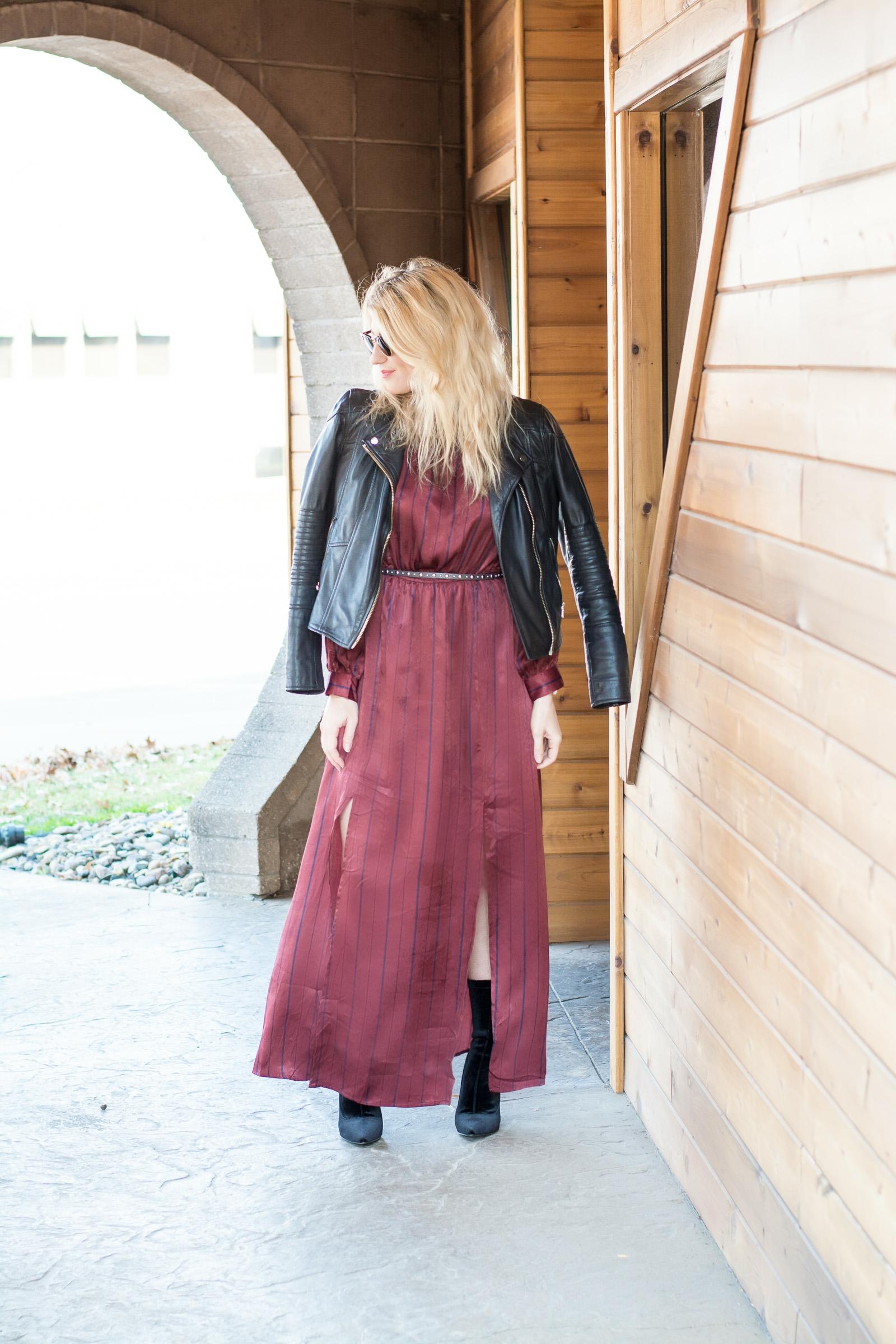 Burgundy Striped Satin Maxi Dress. | Ashley from LSR