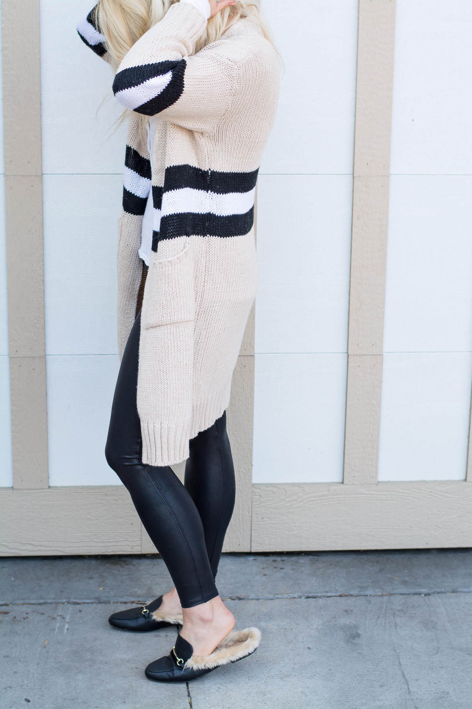 Outfit Idea: Striped Cardigan + Fur Mules. | Ashley from LSR