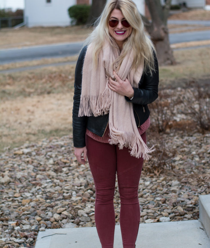Winter Blush: Black Leather Jacket + Blush Blanket Scarf. | Ashley from LSR