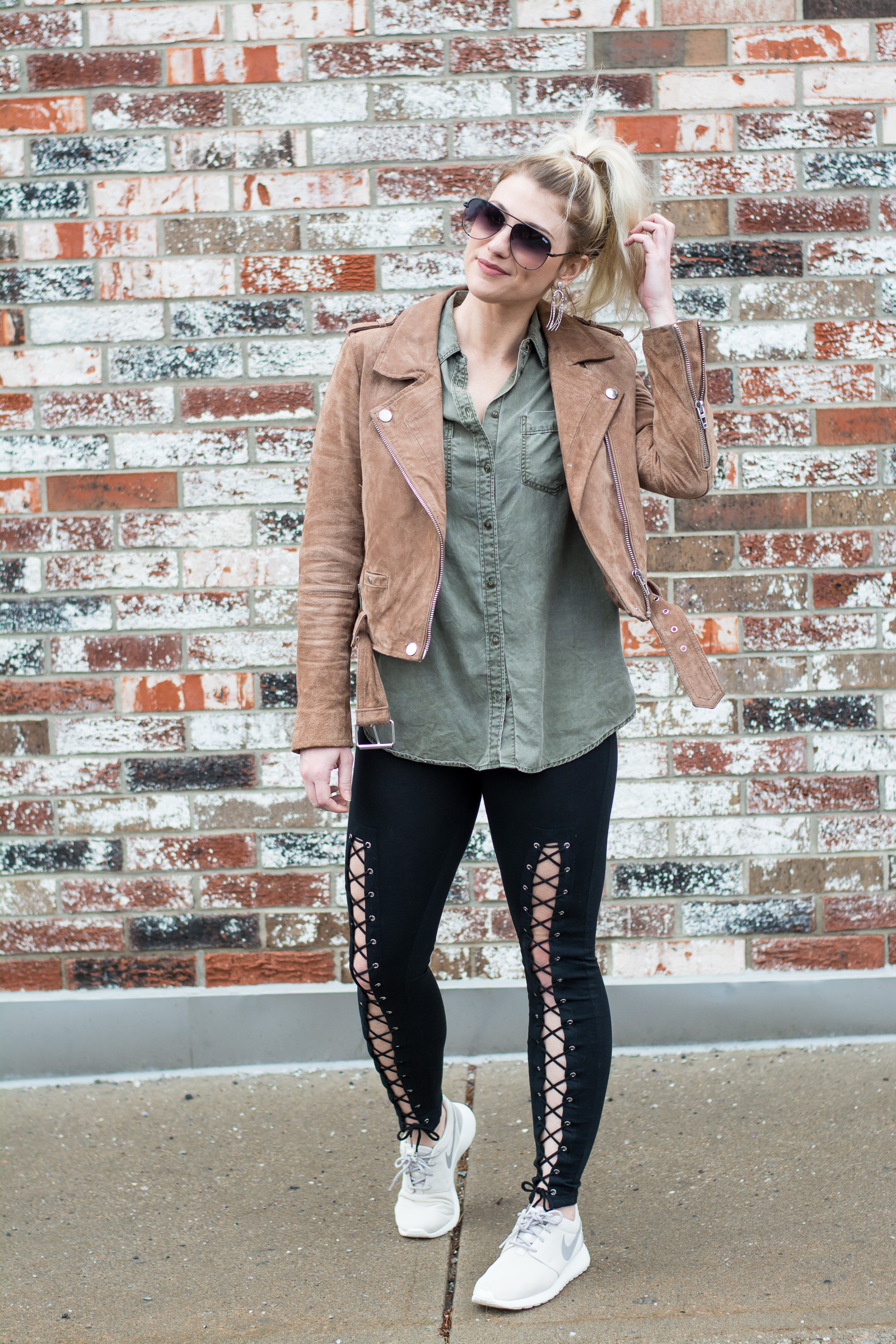 Fave Suede Jacket with Lace-up Leggings. | Ashley from LSR