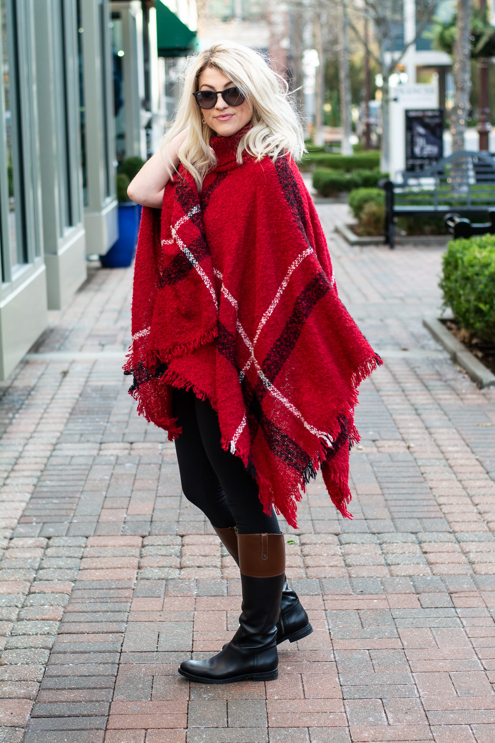 0b0d7367f03 Holiday Outfit: Red Plaid Poncho + Riding Boots. | Le Stylo Rouge
