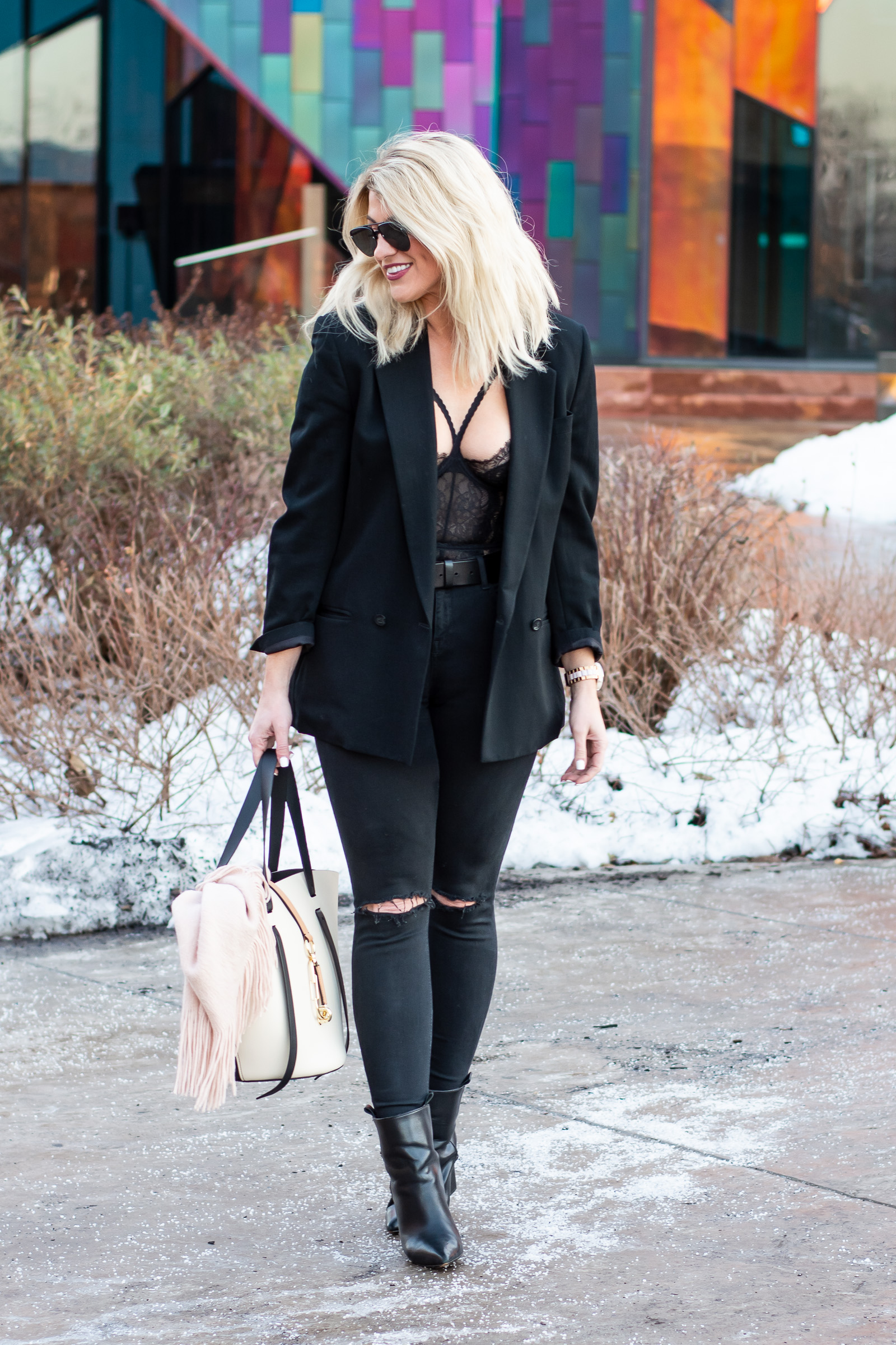 98273ed1e150 Holiday Outfit Idea  All-black and Edgy.